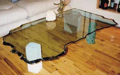 GLASS COFFEE TABLE NO.151 DATED 1989 BY LUCIEN SIMON